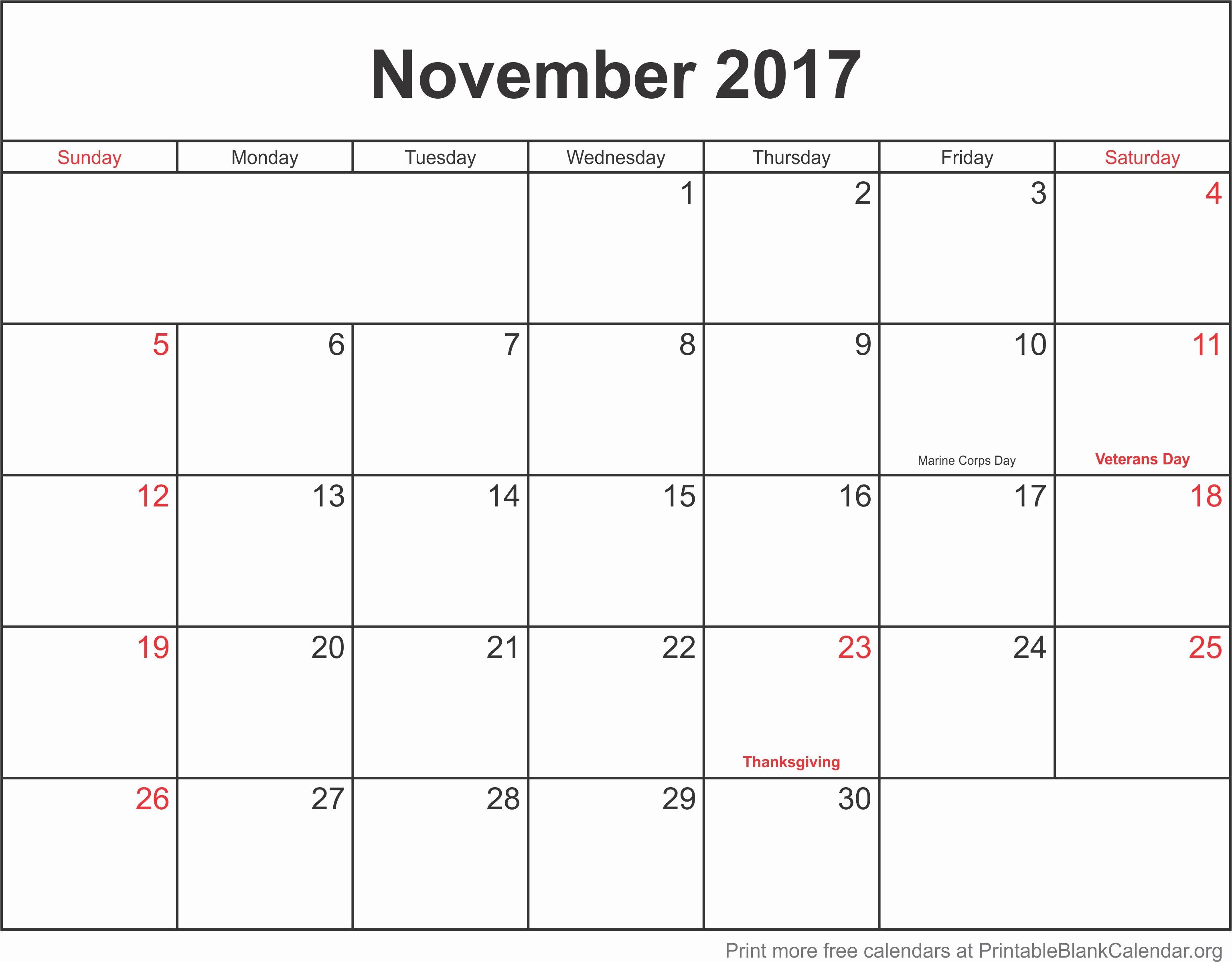 Blank November 2017 Calendar Template Best Of November 2017 Monthly Calendar Printable Blank Calendar