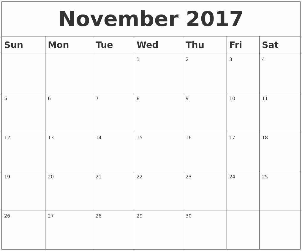 Blank November 2017 Calendar Template Best Of November Calendars