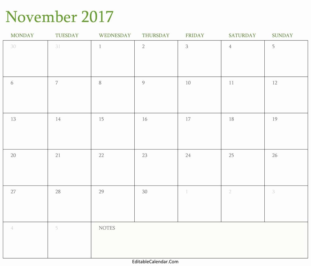 Blank November 2017 Calendar Template Elegant Blank November 2017 Calendar Template Word Pdf