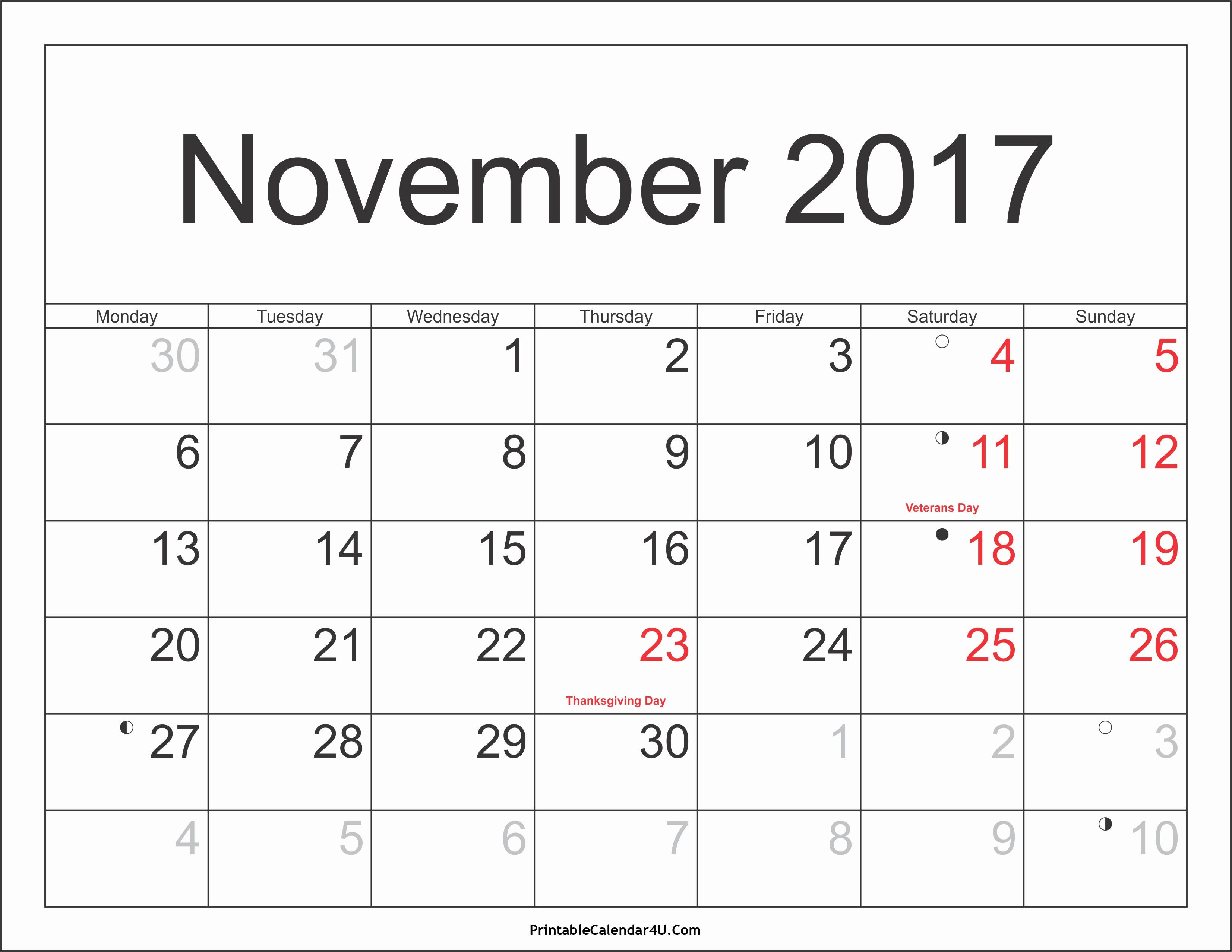 Blank November 2017 Calendar Template Elegant November 2017 Calendar with Holidays