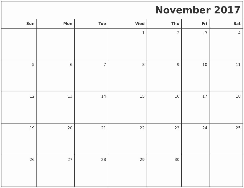 Blank November 2017 Calendar Template Elegant November Calendars