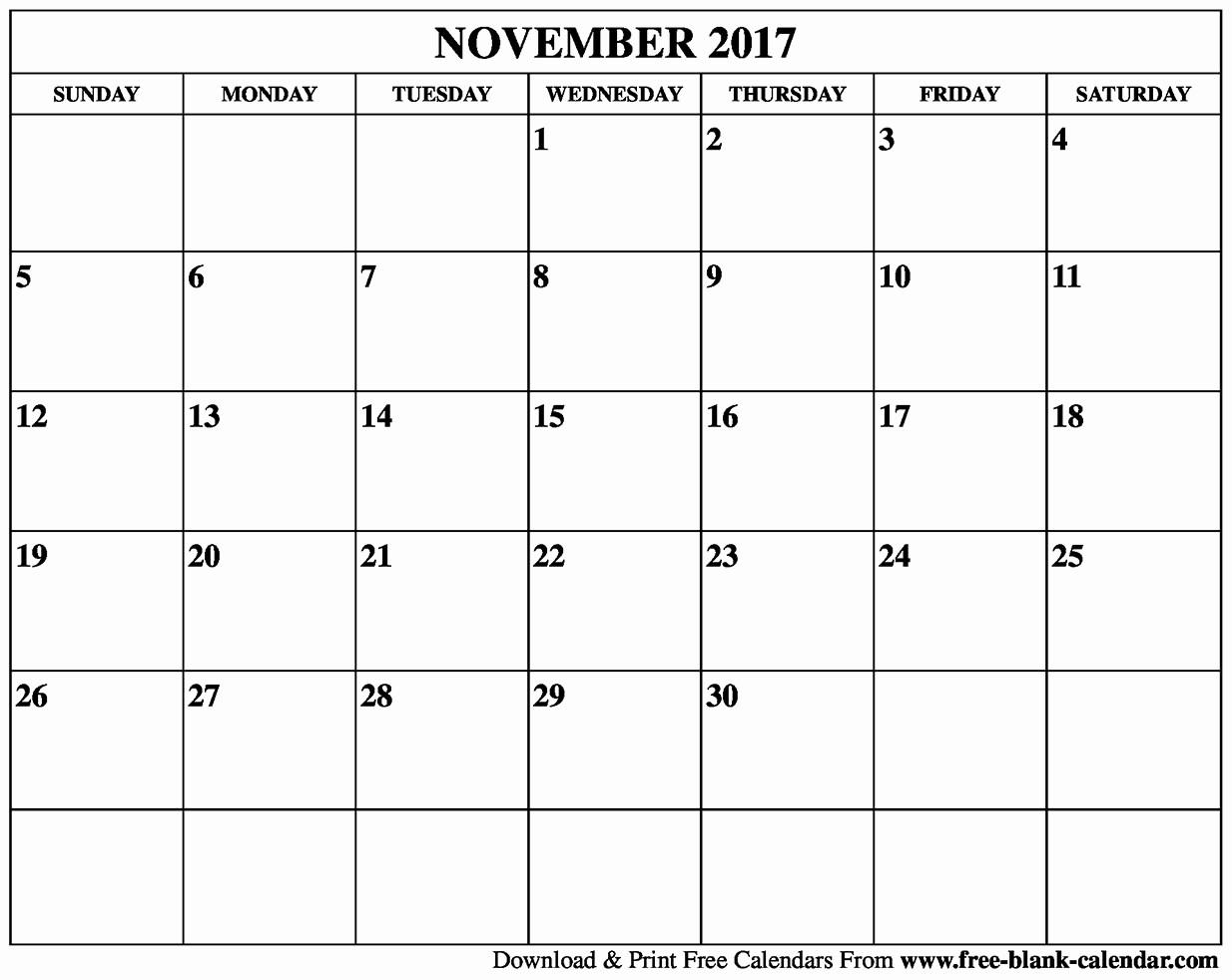 Blank November 2017 Calendar Template Fresh Blank November 2017 Calendar Printable