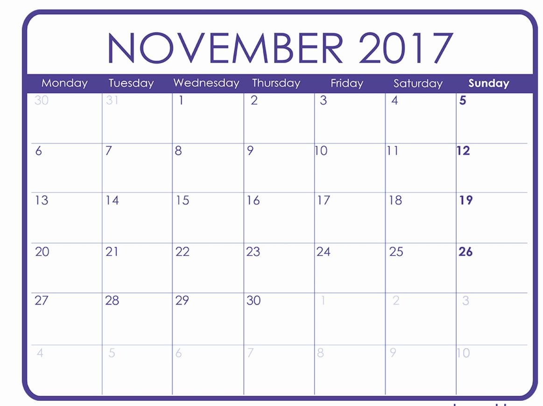 Blank November 2017 Calendar Template Fresh November 2017 Printable Calendar Templates