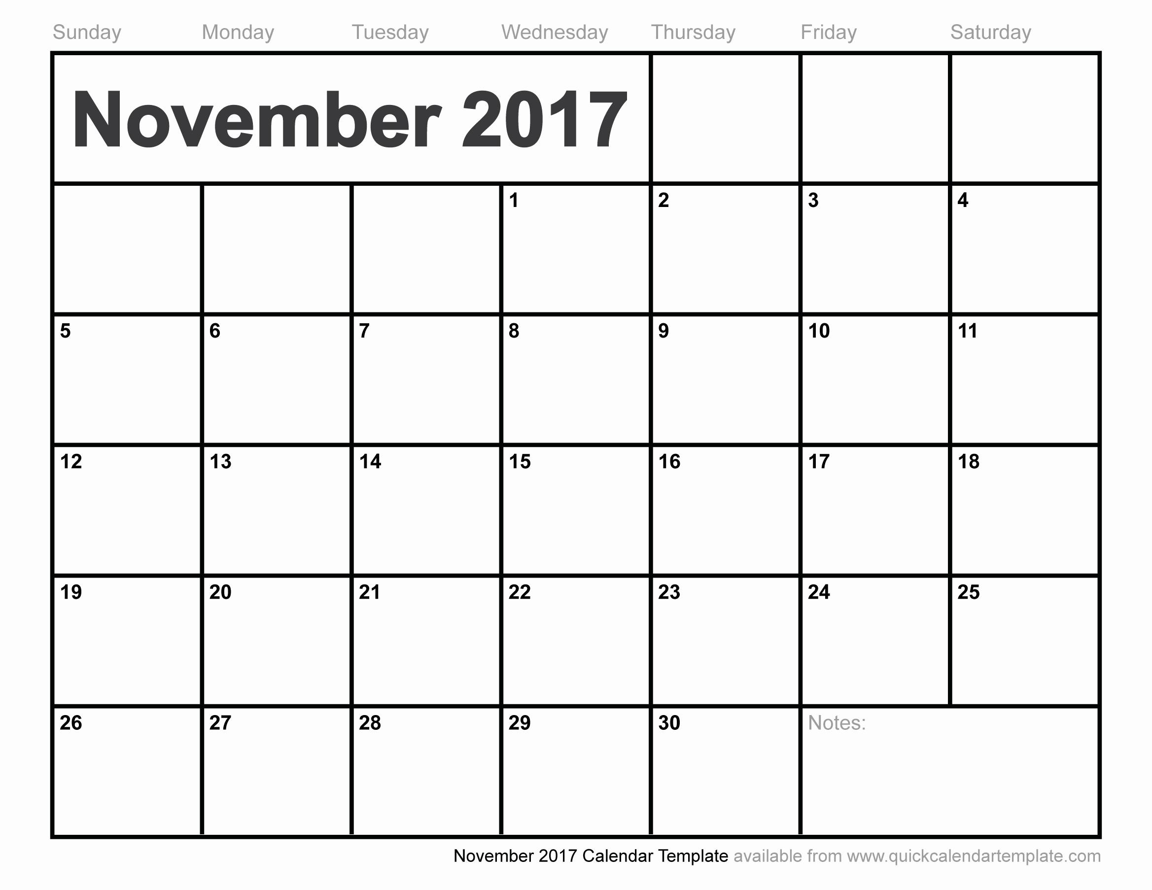 Blank November 2017 Calendar Template Inspirational Blank November 2017 Calendar
