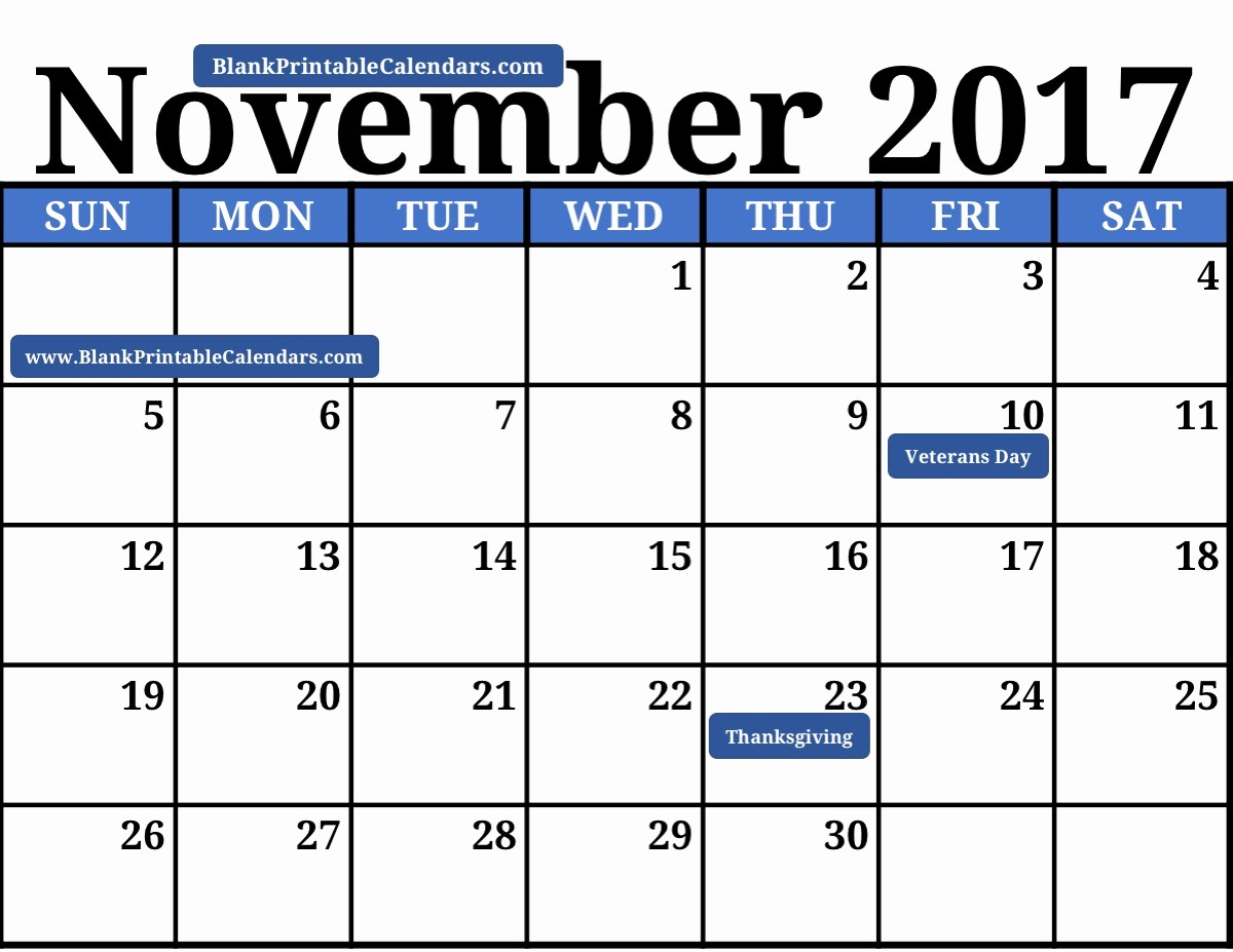 Blank November 2017 Calendar Template Inspirational Blank Printable November 2017 Calendar
