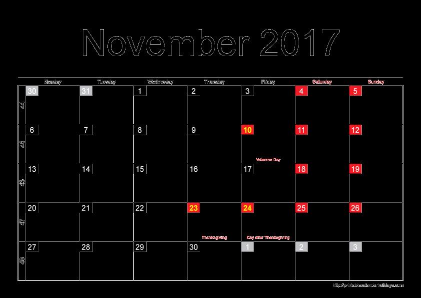 Blank November 2017 Calendar Template Inspirational November 2017 Calendar Thanksgiving – Calendar Template 2018