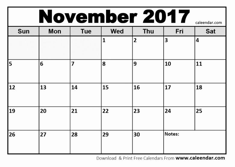 Blank November 2017 Calendar Template Lovely 2017 November Calendar events Free Calendar Template