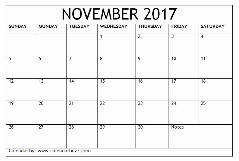 Blank November 2017 Calendar Template Lovely 2017 November Calendar Template Download for Word Excel
