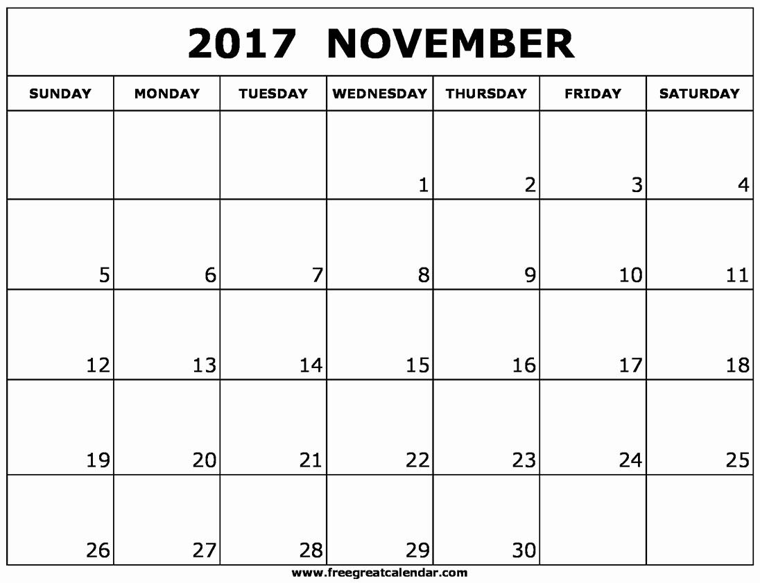 Blank November 2017 Calendar Template Lovely Blank November 2017 Calendar Printable