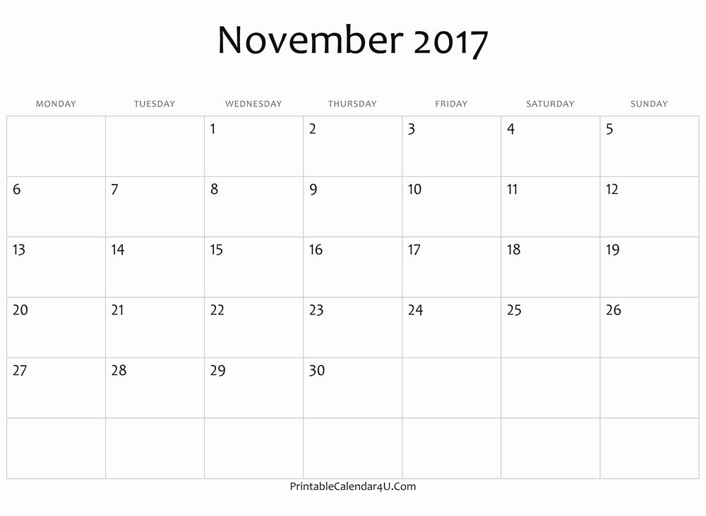 Blank November 2017 Calendar Template Lovely Blank November Calendar 2017 Ms Word Free Printable 2017