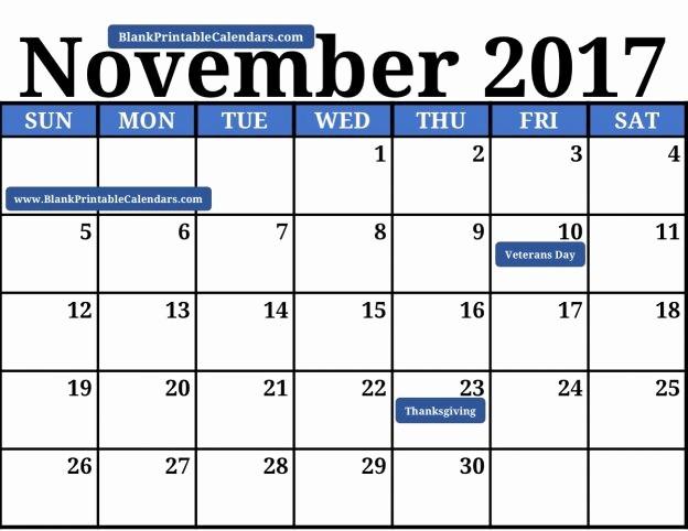 Blank November 2017 Calendar Template Lovely Blank Printable November 2017 Calendar