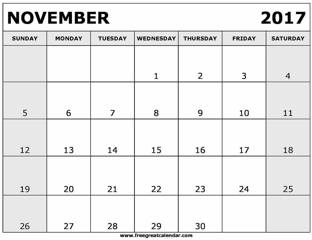 Blank November 2017 Calendar Template Luxury Blank November 2017 Calendar Printable