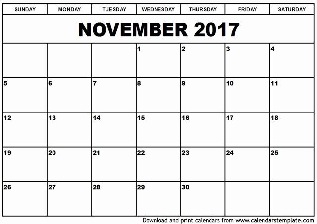 Blank November 2017 Calendar Template Luxury November 2017 Calendar