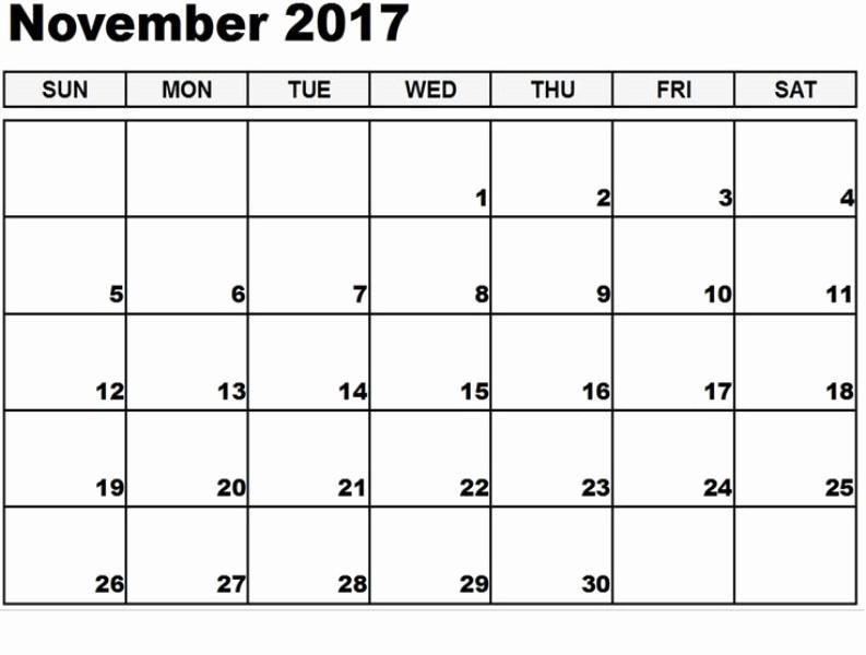 Blank November 2017 Calendar Template Luxury Printable Blank Calendar 2017 November Free Hd