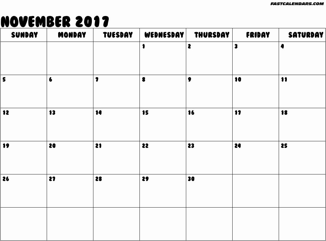 Blank November 2017 Calendar Template New 2019 Calendars Fastcalendars