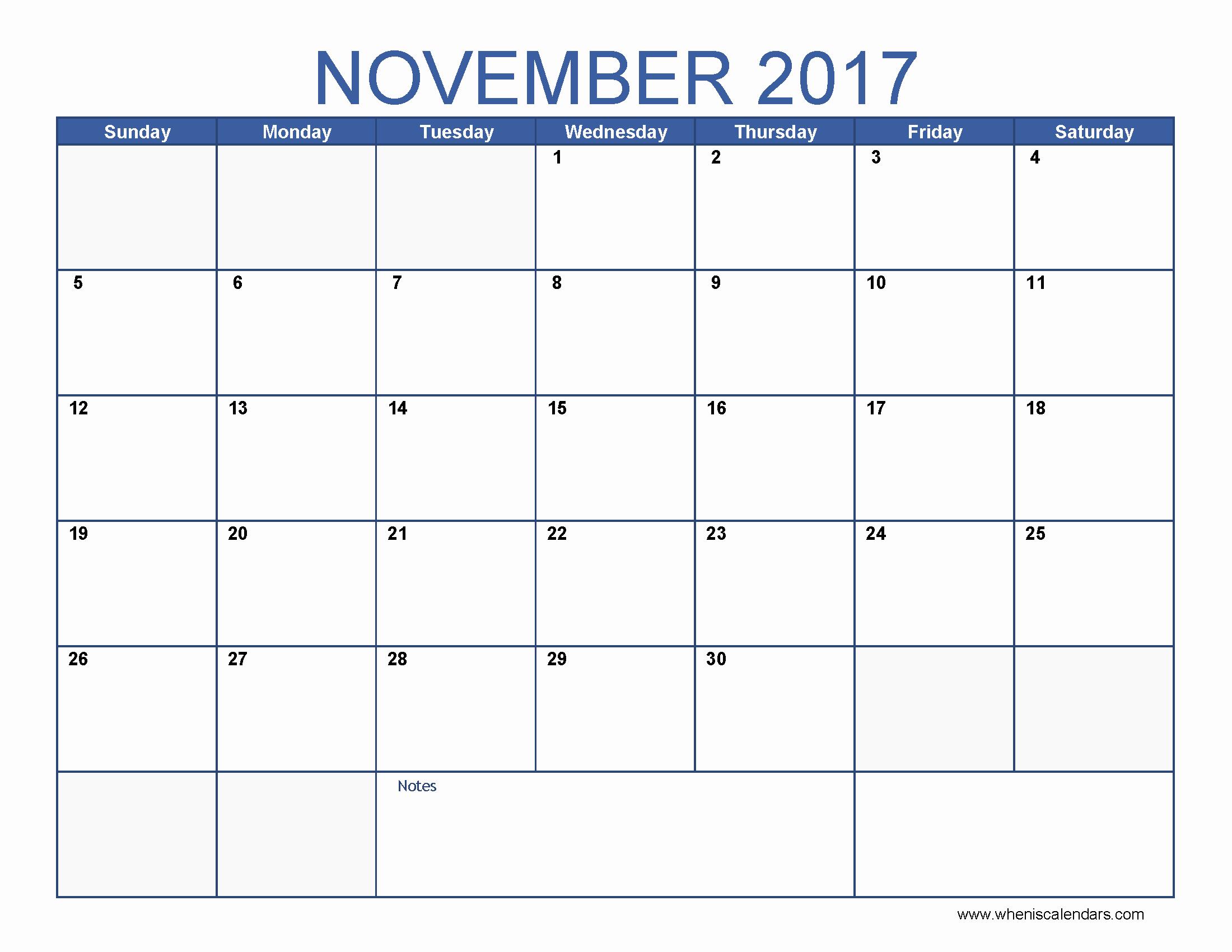 Blank November 2017 Calendar Template New Blank November 2017 Calendar