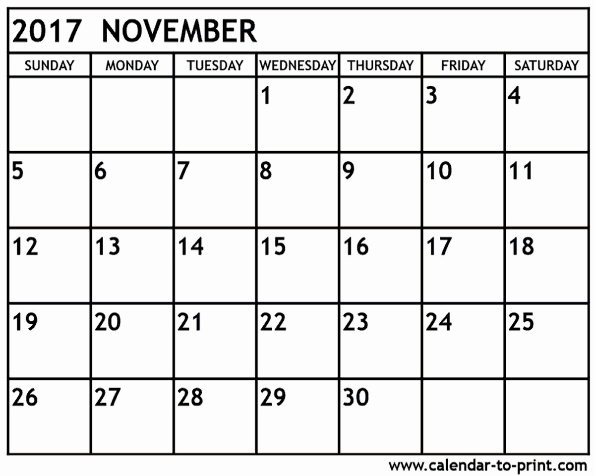 Blank November 2017 Calendar Template New Blank November 2017 Calendar Pdf
