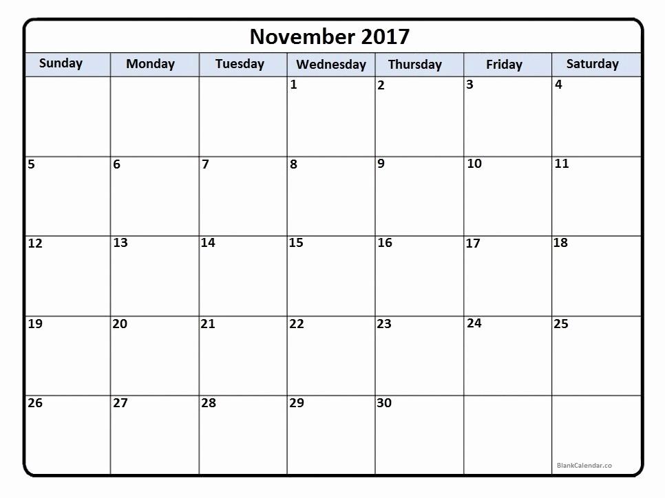 Blank November 2017 Calendar Template New November 2017 Calendar November 2017 Calendar Printable