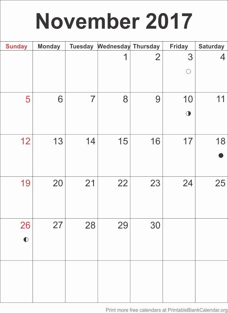 Blank November 2017 Calendar Template New Printable Blank Calendar Free Calendar Templates