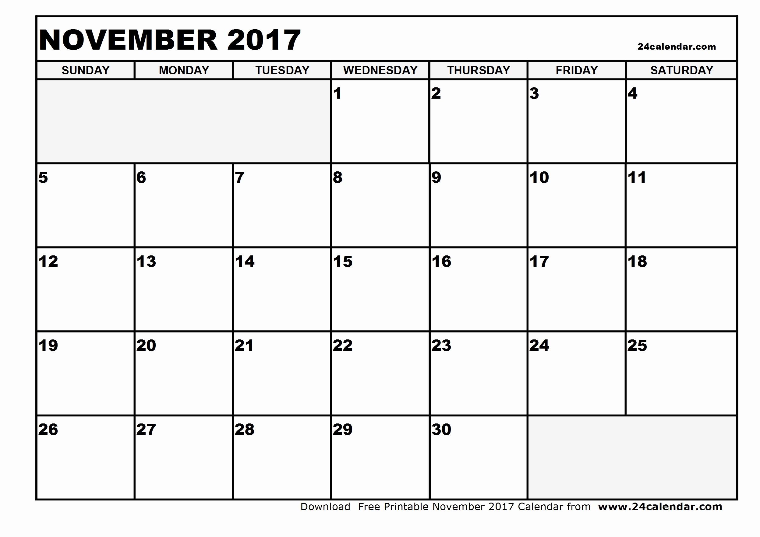 Blank November 2017 Calendar Template Unique Blank November 2017 Calendar In Printable format