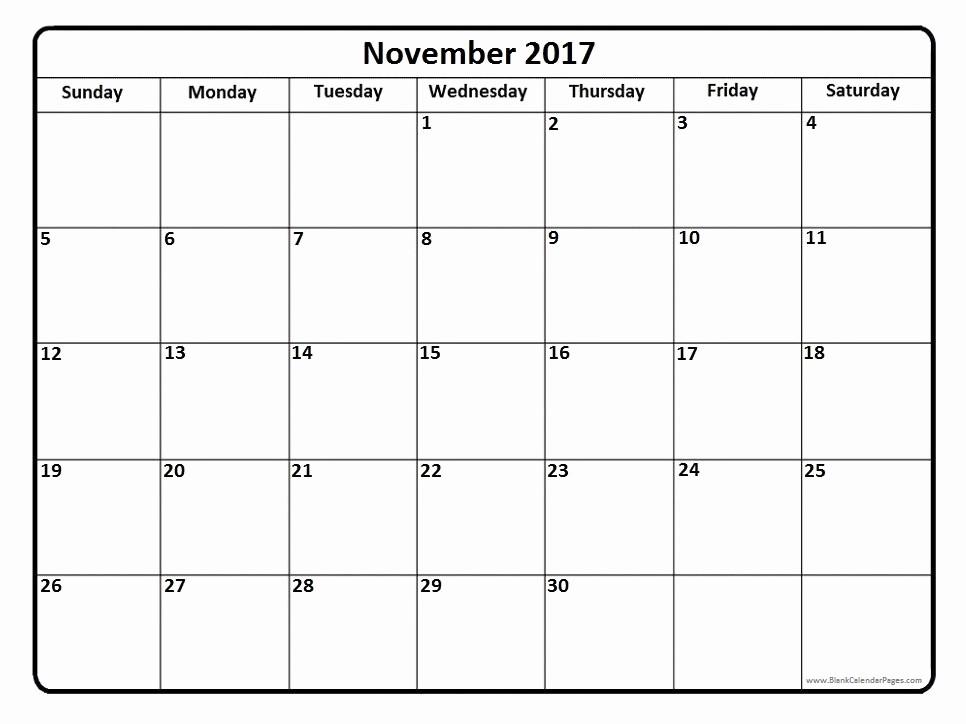 Blank November 2017 Calendar Template Unique Blank November 2017 Calendar