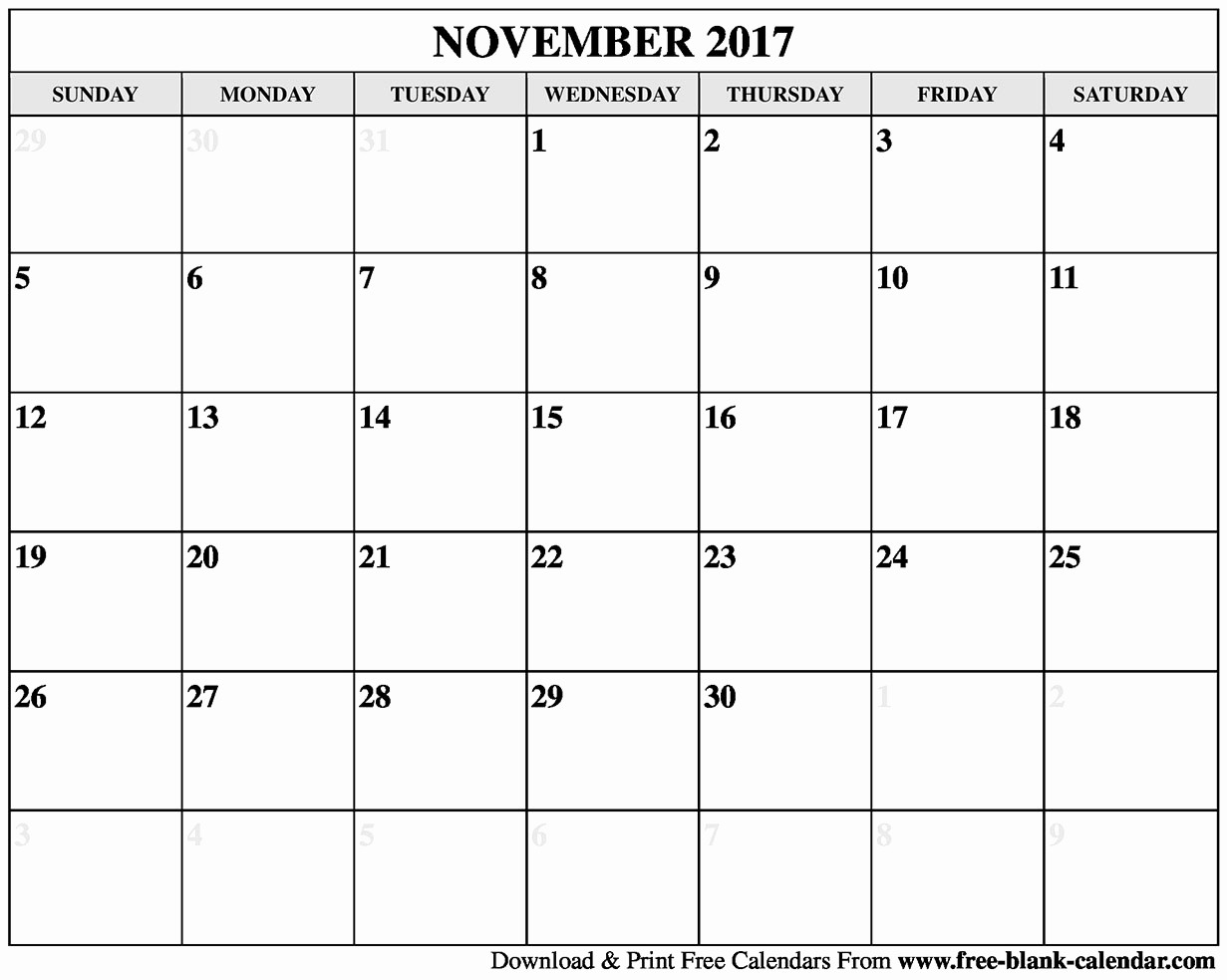 Blank November 2017 Calendar Template Unique Blank November 2017 Calendar Printable