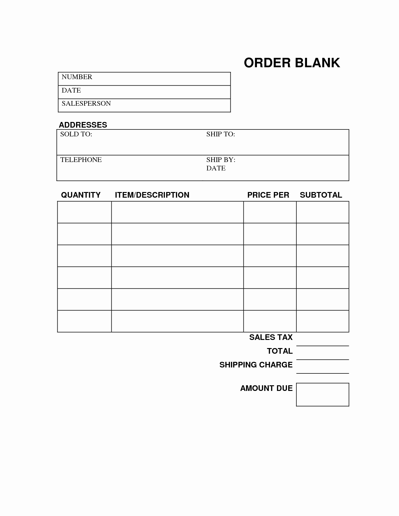 Blank order form Template Excel Lovely Blank order form Printable