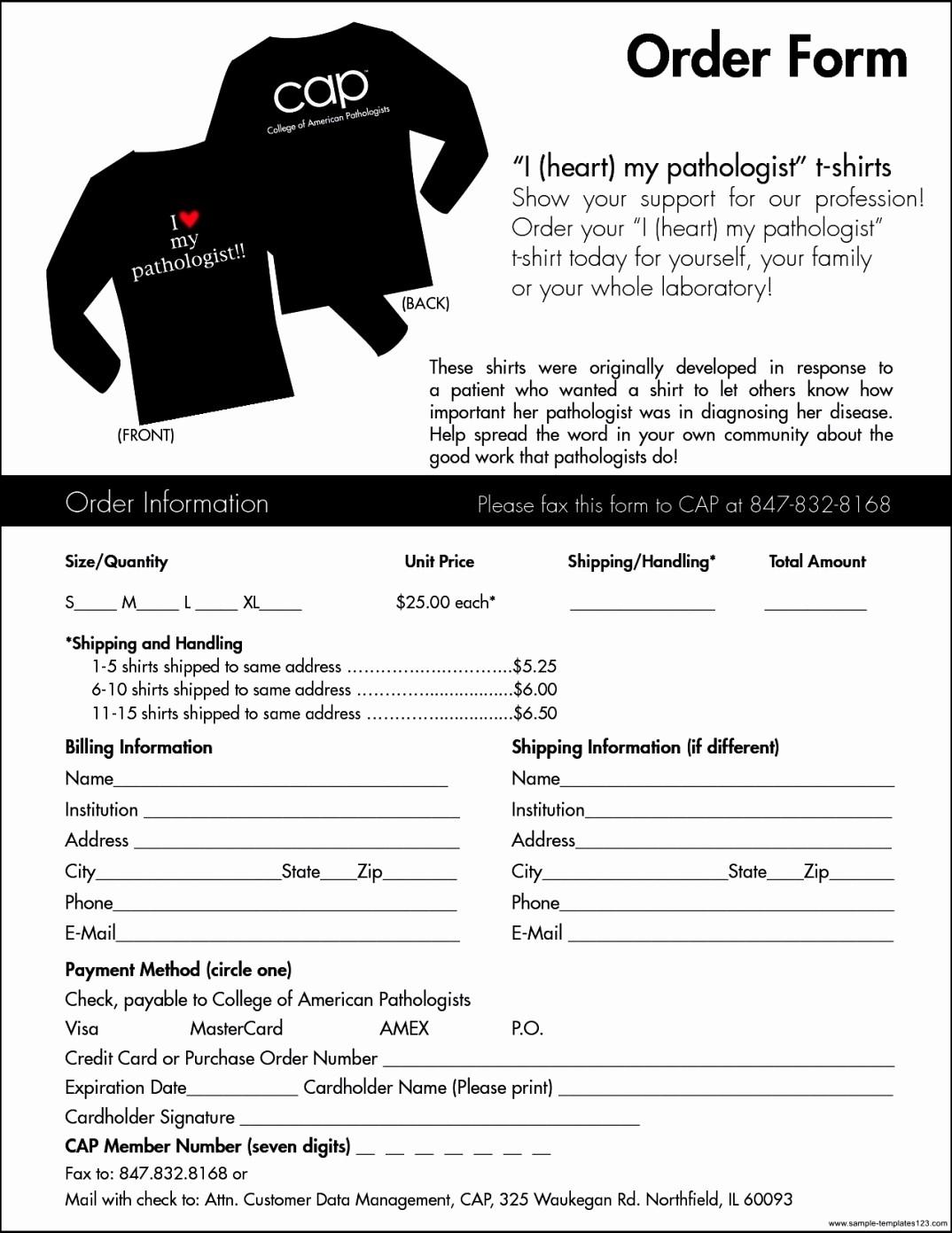 Blank order form Template Word Elegant T Shirt order form Template