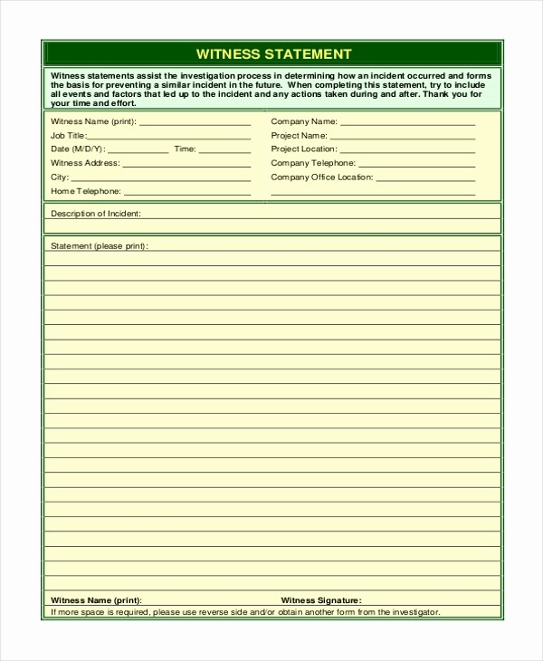 Blank P&l form Best Of Sample Witness Statement form 10 Free Documents In Word
