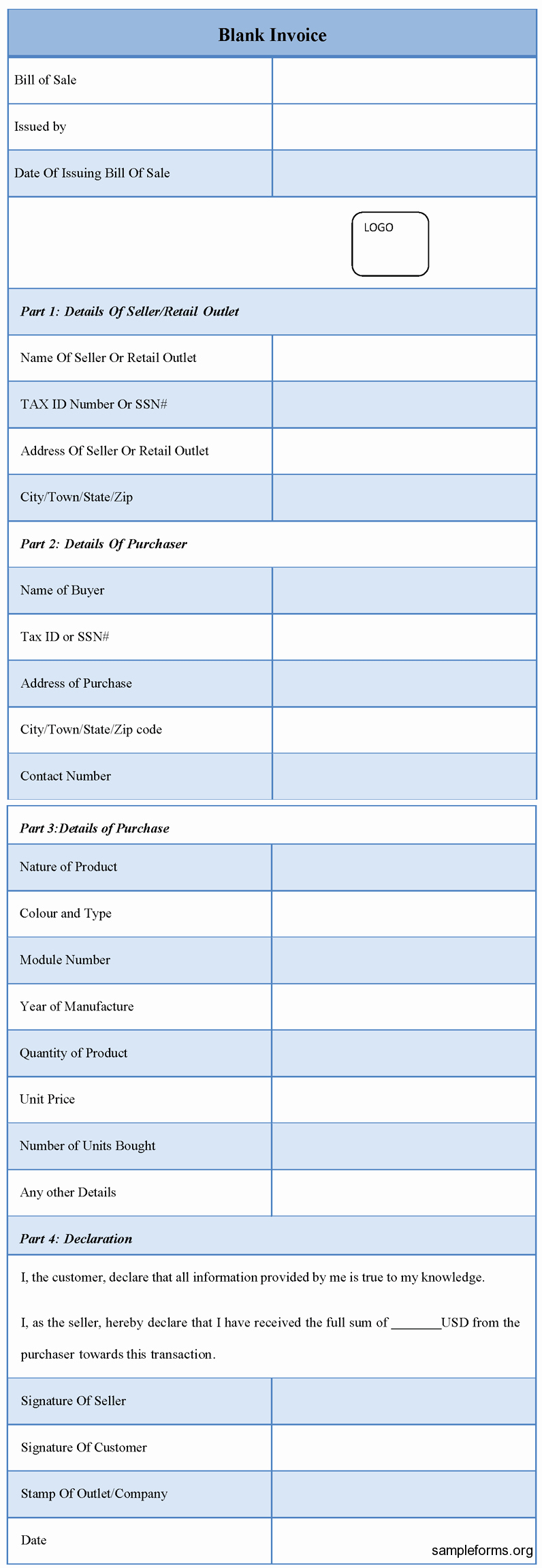 Blank P&l form Lovely Blank Invoice form Sample forms
