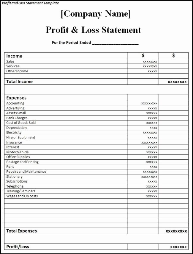 Blank P&l Statement Elegant Brilliant Samples Of Blank Profit and Loss Statement form