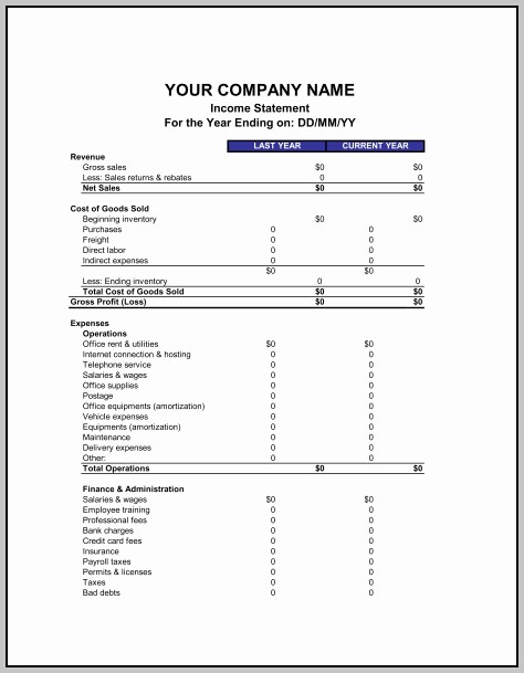 Blank P&l Statement Inspirational Blank P&l Statement Template Resume Examples V9k58l6mrj