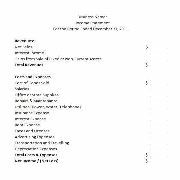 Blank P&l Statement Inspirational Profit and Loss Statement Template