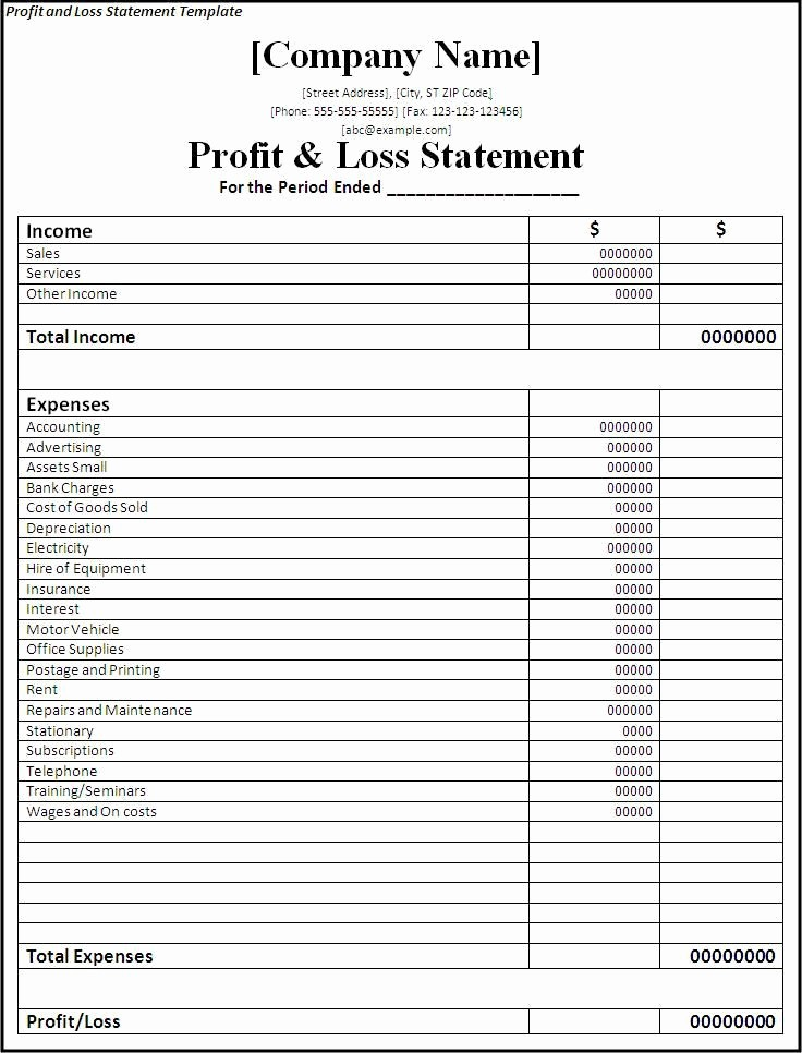 Blank P&l Statement Luxury Profit and Loss Statement Template Planners