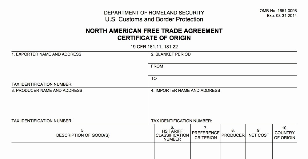 Blank P&l Statement New Nafta Certificate origin Template Download New Nafta