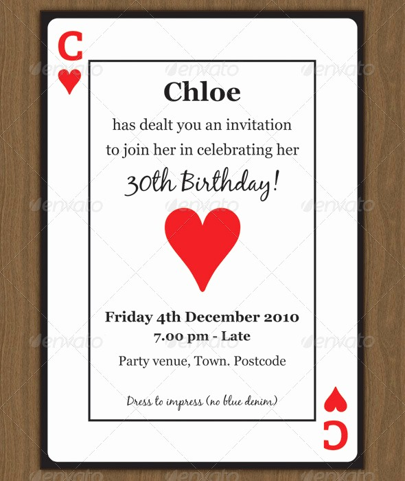 Blank Playing Card Template Word Beautiful Playing Card Invitation by Chloeb