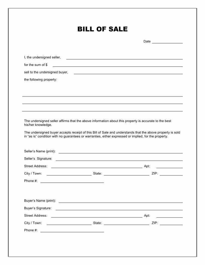 Blank Printable Bill Of Sale Fresh Free Blank Bill Of Sale form Download Pdf