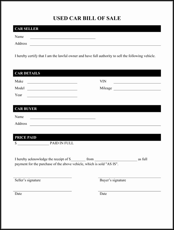 Blank Printable Bill Of Sale Inspirational Used Car Bill Sale form