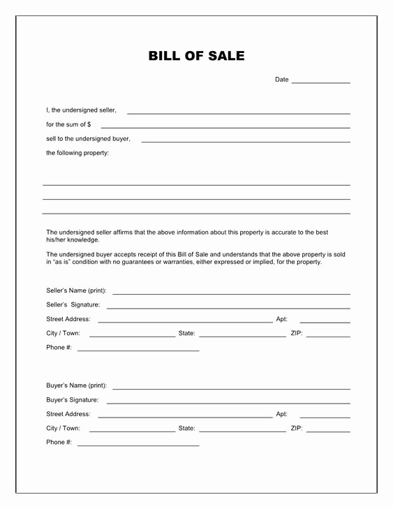 Blank Printable Bill Of Sale Lovely Free Printable Blank Bill Of Sale form Template as is