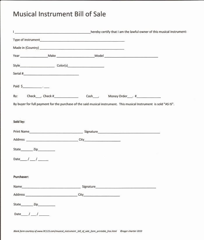 Blank Printable Bill Of Sale Luxury Blank Bill Sale form Free Printable