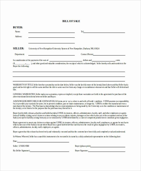 Blank Printable Bill Of Sale New Bill Of Sale form In Word