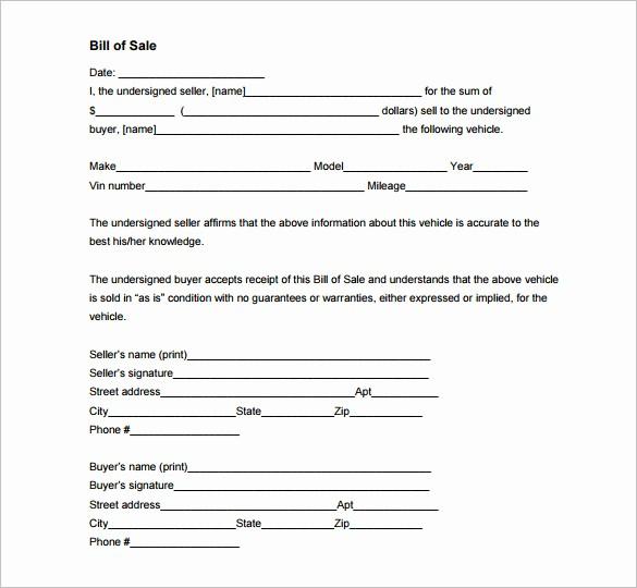 Blank Printable Bill Of Sale Unique 8 Auto Bill Of Sale Doc Pdf
