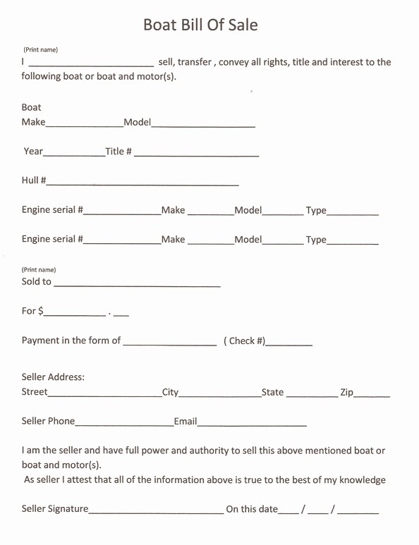Blank Printable Bill Of Sale Unique Free Printable Boat Bill Sale form Generic