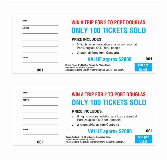 Blank Raffle Ticket Template Free Luxury Sample Raffle Ticket Template 20 Pdf Psd Illustration