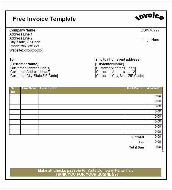 Blank Receipt Template Microsoft Word Fresh Blank Invoice Template Invoice