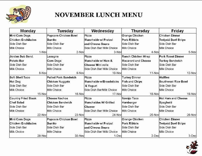 Blank School Lunch Menu Template Beautiful 5 Best Of Printable Lunch Menus Pick Your Lunch