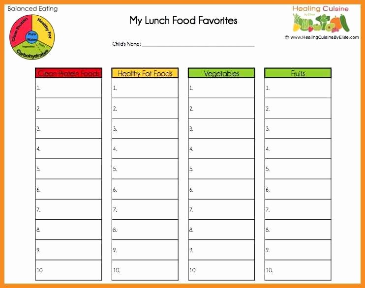 blank school lunch menu template