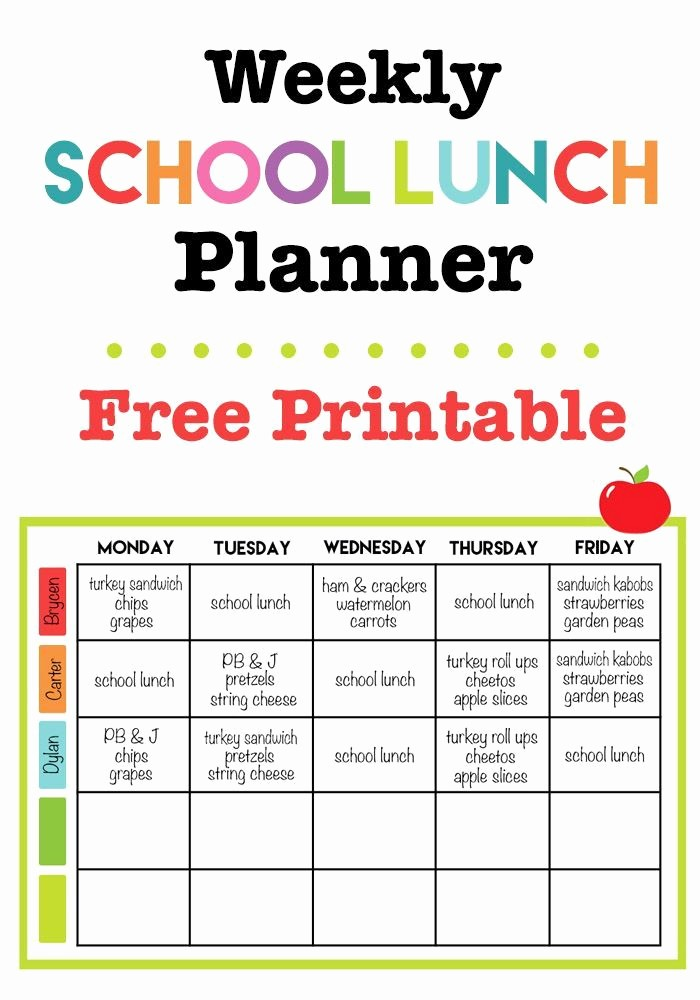 Blank School Lunch Menu Template Beautiful Weekly School Lunch Printable Back to School
