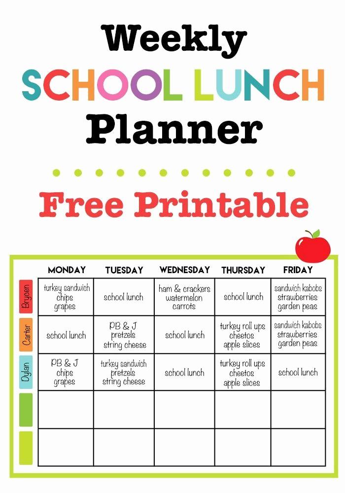 Blank School Lunch Menu Template Beautiful Weekly School Lunch Printable Back to School
