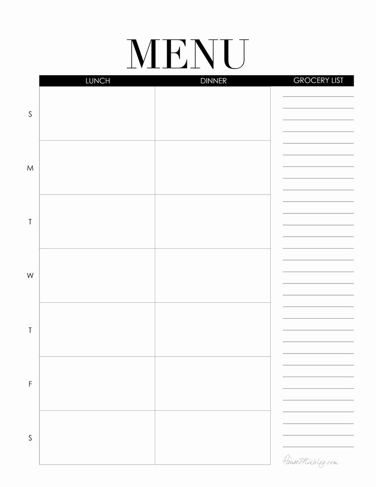 Blank School Lunch Menu Template Best Of 122 Best Images About House Mix Life On Pinterest